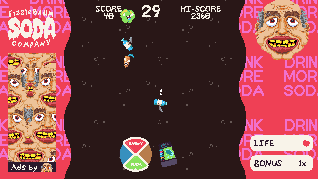 A screenshot of Fizzlebomber gameplay displaying a flying soda machine using its flavor selector.