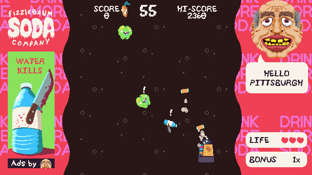 A screenshot of Fizzlebomber gameplay displaying a flying soda machine shooting apples and bottled water.