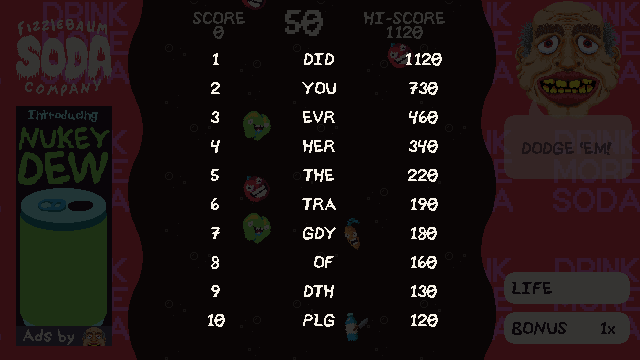 A screenshot of Fizzlebomber gameplay displaying a high score leaderboard.