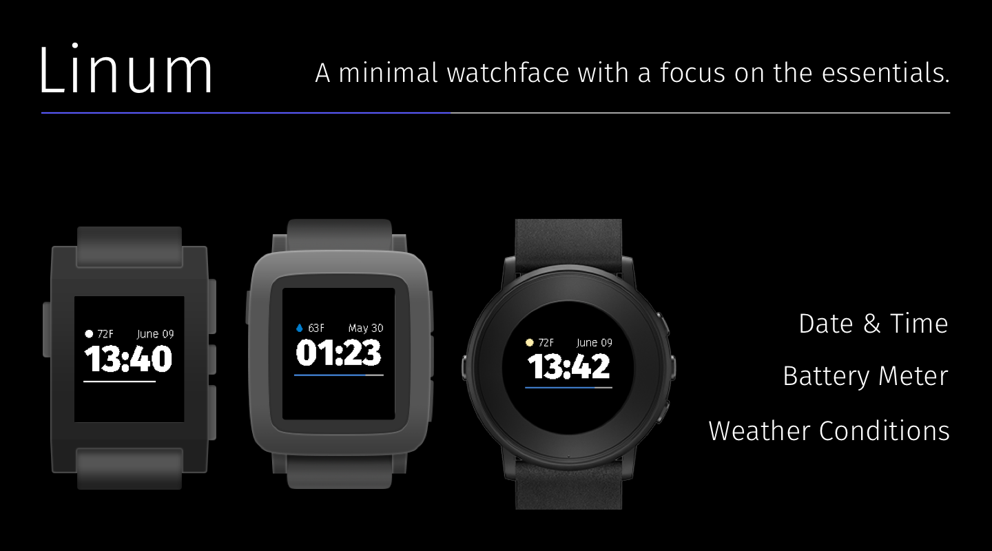 A promotional image displaying the watchface on various Pebble models.