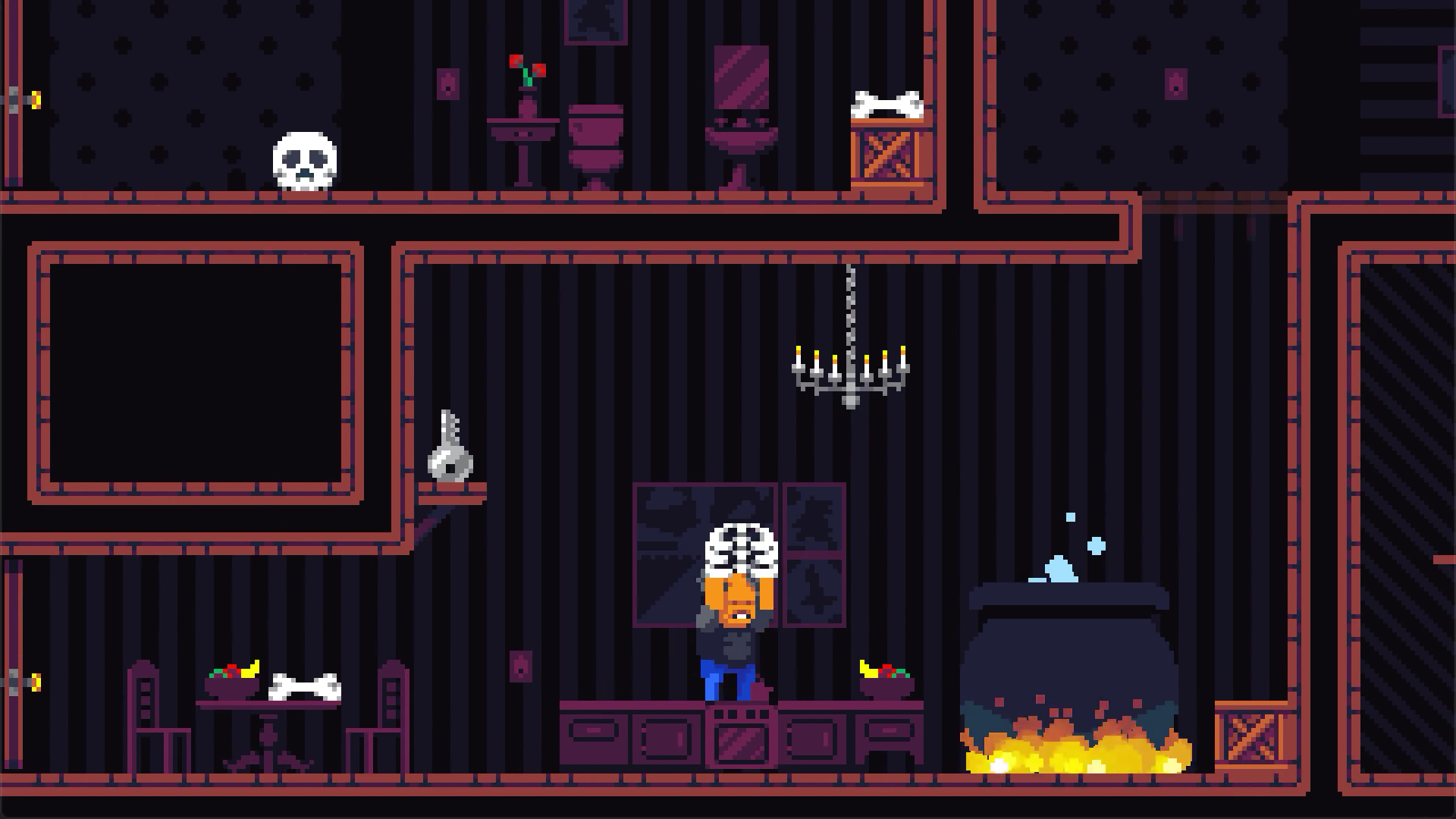 A screenshot of Midnight Manor with the main character holding a ribcage in a kitchen.