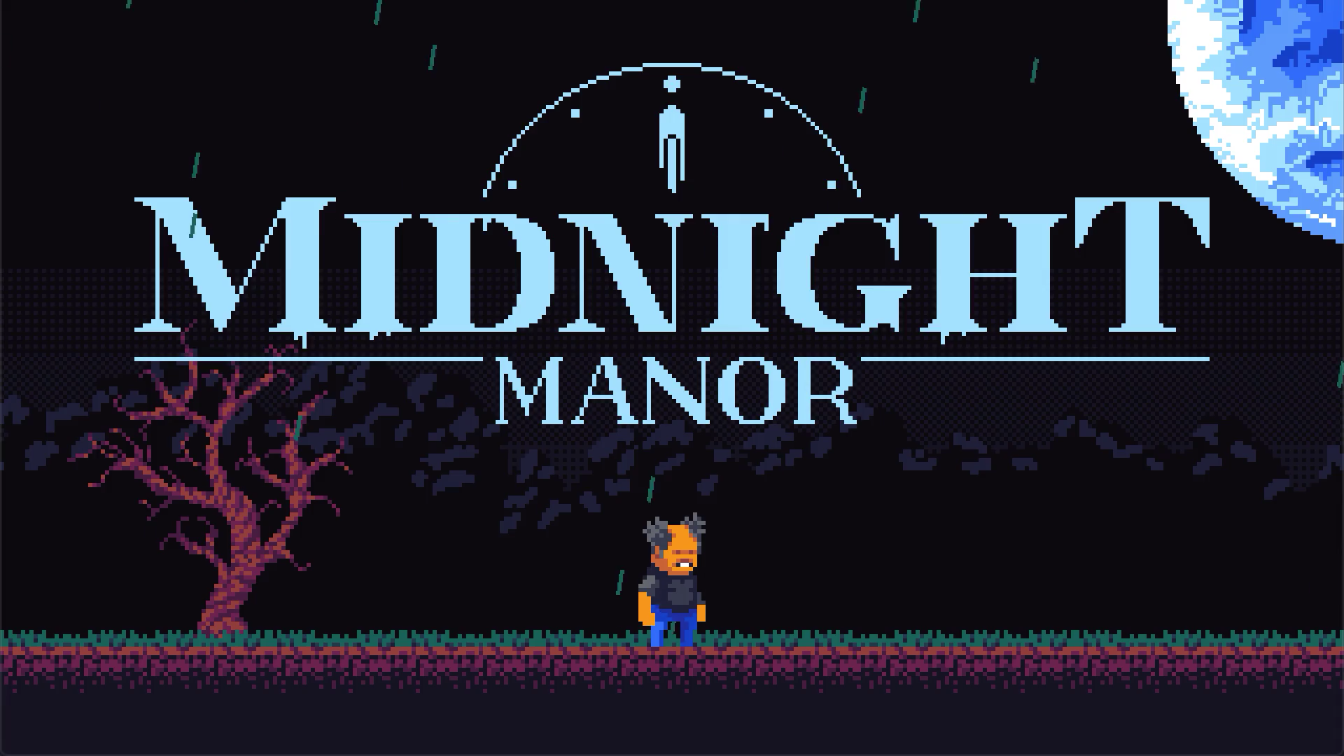 A screenshot of Midnight Manor displaying the title screen.
