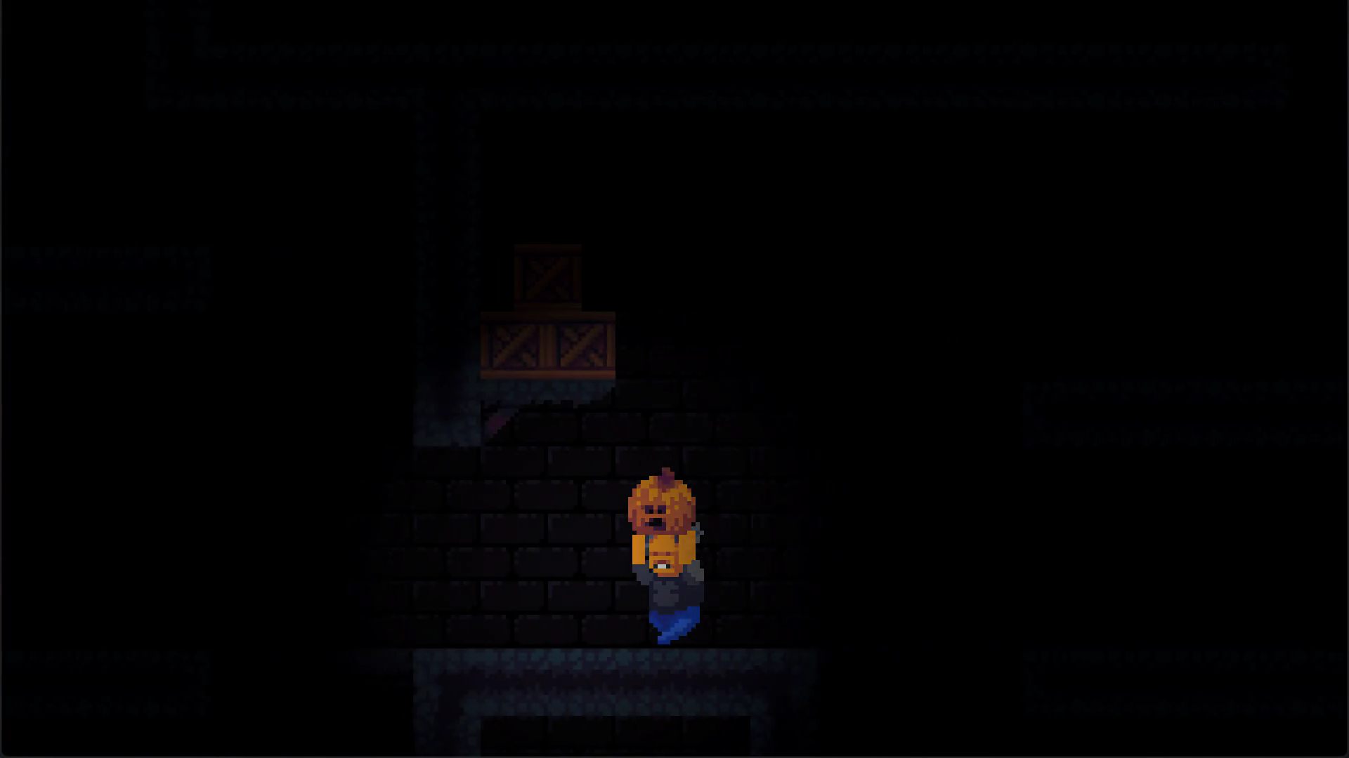 A screenshot of Midnight Manor with the main character holding a pumpkin in a dark cellar.