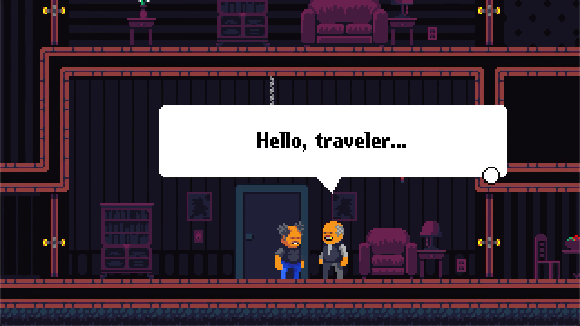 A screenshot of Midnight Manor displaying a conversation with a character.