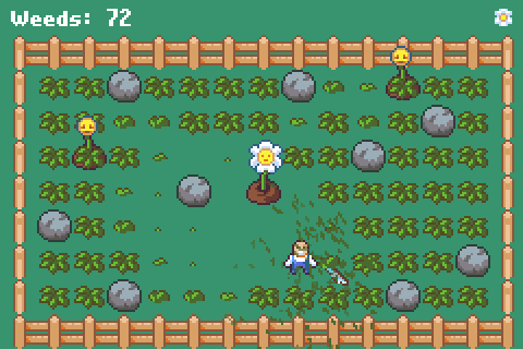 A screenshot of Overgrown showing a man with a machete in a flower garden with many weeds and dead flowers.