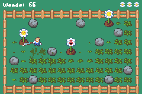 A screenshot of Overgrown showing a man with a machete in a flower garden with weeds attacking the flowers.
