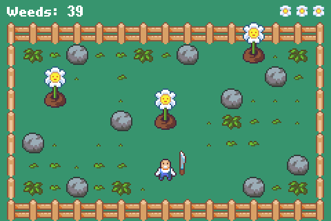 A screenshot of Overgrown showing a man with a machete in a flower garden with weeds appearing.