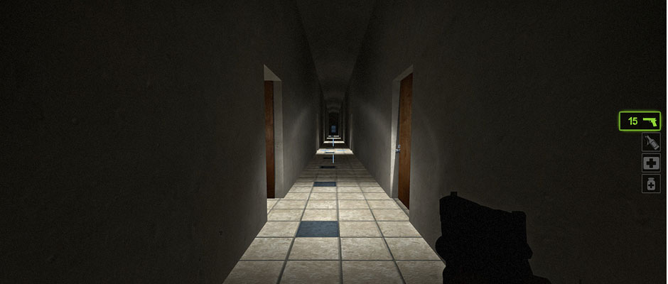 A screenshot of a long, dark hallway in the dormitory map.
