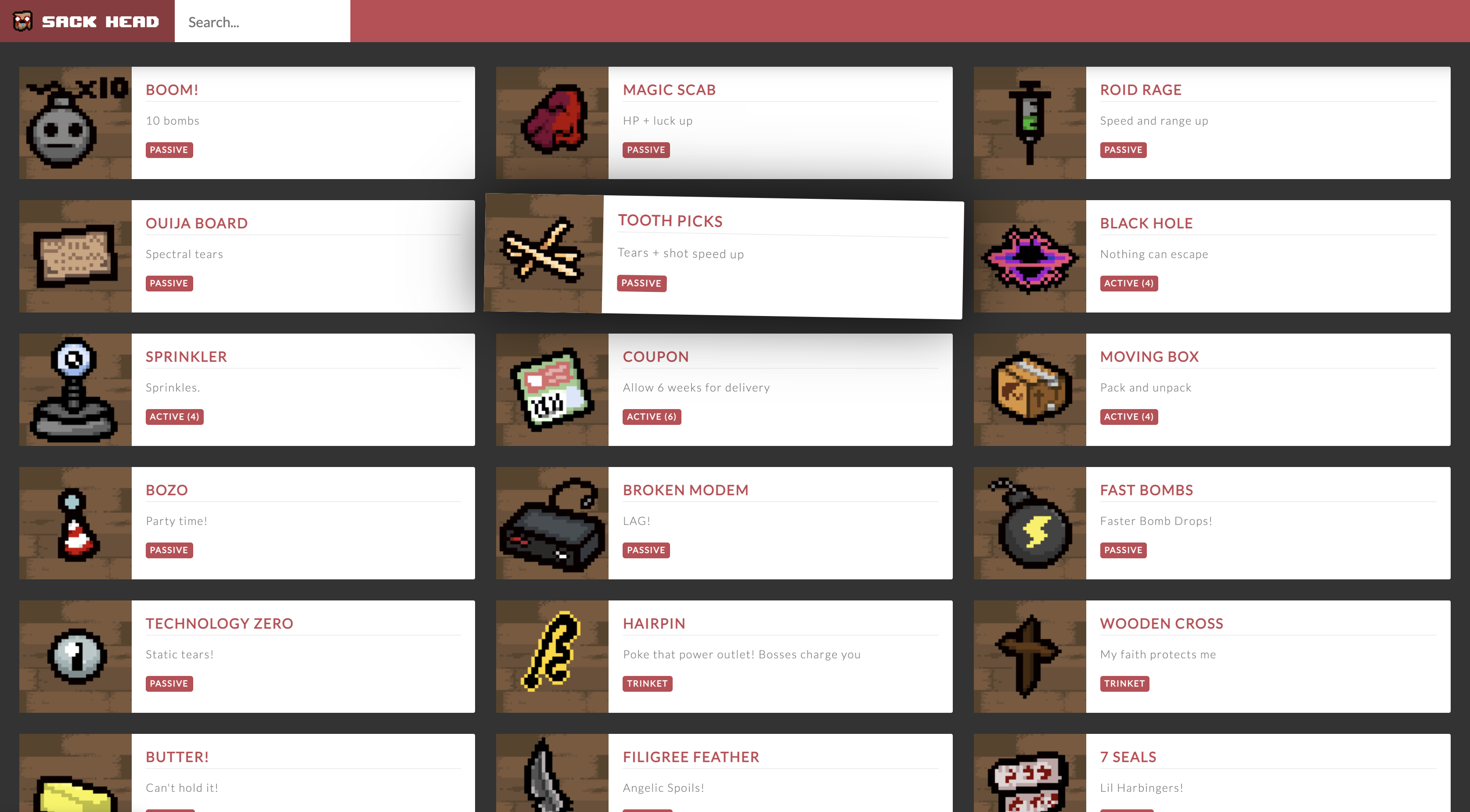 A screenshot of the Sack Head application displaying the main list of items.