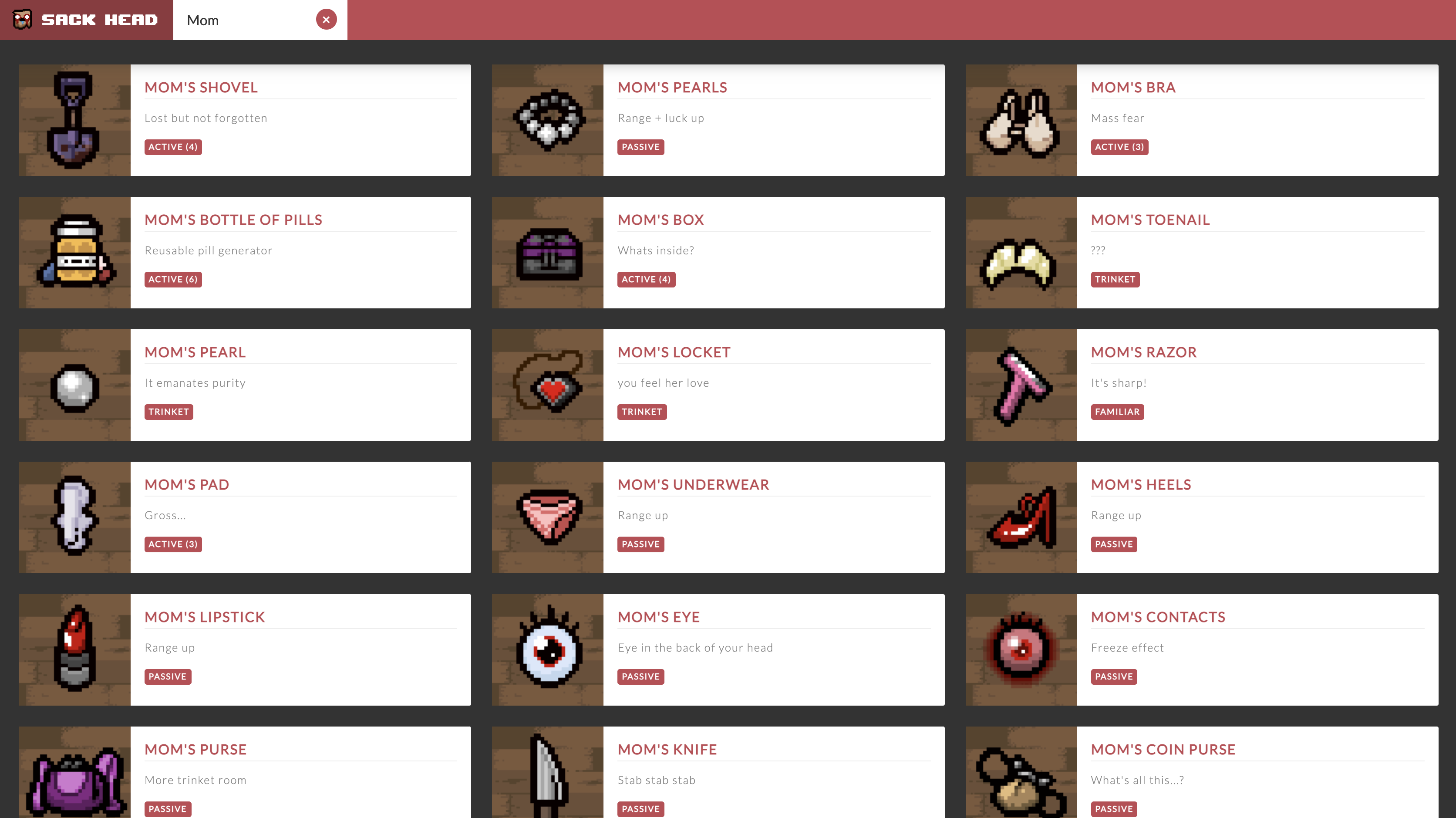 A screenshot of the Sack Head application displaying a filtered list of items.
