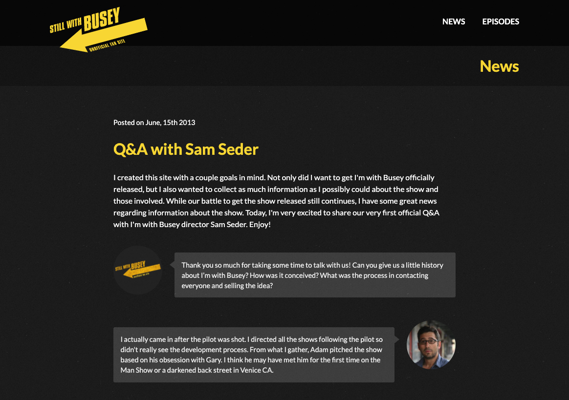 A screenshot of the website displaying an interview with the director of the show.