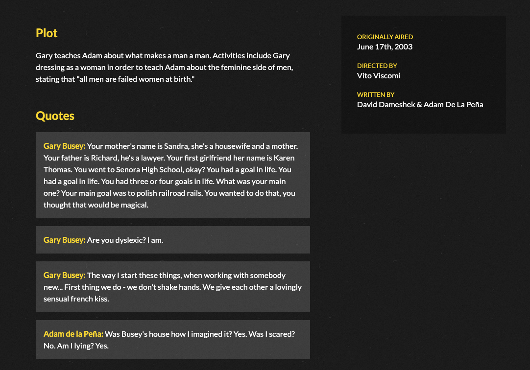 A screenshot of the website displaying the episode details page.