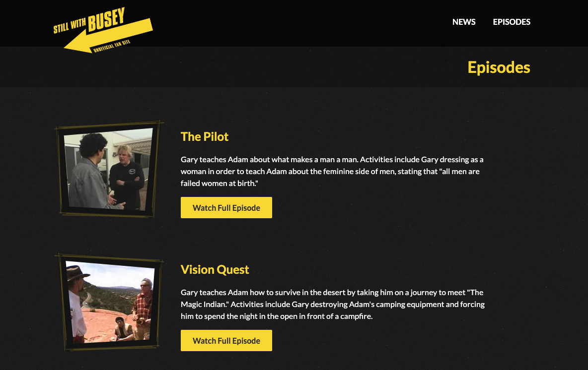 A screenshot of the website displaying the episode list.
